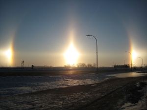 A parhelion, or sundogs, over Fargo, North Dakota
